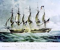 This print (Plate No. 1 of four) depicts the commencement of the action, with the two frigates exchanging gunfire at close range.