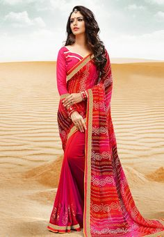 df41a4c4521d3c Buy Magenta Georgette Bandhej Saree With Blouse 154747 with blouse online  at lowest price from vast