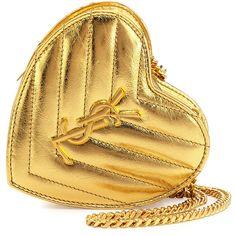 Saint Laurent Love Mini Heart Crossbody Bag (€825) ❤ liked on Polyvore featuring bags, handbags, shoulder bags, bolsa, gold, chain shoulder bag, mini crossbody purse, beige shoulder bag, handbags crossbody and handbags shoulder bags