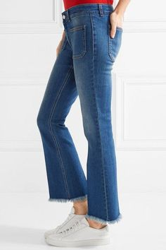 Stella McCartney - Cropped Frayed Low-rise Flared Jeans - Mid denim - 33