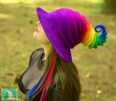 Neon Rainbow felted wizard or witch hat for your next geeky adventure! Splurge on the accessory that will make your next Renaissance Faire