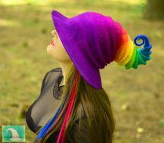 Rainbow Witch Hat. Wizard Hat. Fantasy Hat. Cosplay Hat. LARP.