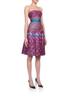 MARY KATRANTZOU Kelly Strapless Reverse-Jacquard Dress. #marykatrantzou #cloth #dress