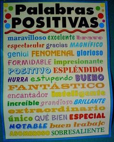 Palabras Positivas en español - a new found interest lately, learning Espanol. Spanish Grammar, Spanish Vocabulary, Spanish Words, Spanish Teacher, Spanish Lessons, How To Speak Spanish, Teaching Spanish, Learn Spanish, Dual Language Classroom