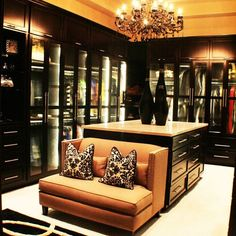 Dark toned massive closet  luxurious interior design ideas perfect for your projects. #interiors #design #homedecor www.covetlounge.net