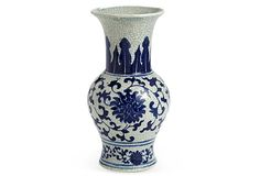 Decorative Vase, Blue Floral on OneKingsLane.com