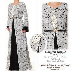 B&W Polkadot Chiffon Ruffle Neck Abaya Bell Sleeves by MissMode21, $34.00