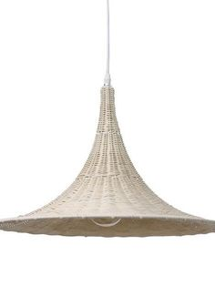 The Wicker Trumpet Pendant – White is a stylish and unusual pendant light that would look great in any styled room. Made from a white metal frame with white wicker woven through it.