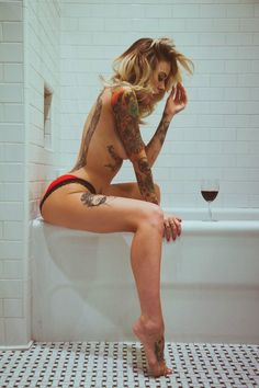 Tattoos and Piercings, What else could you ask for Hot Tattoos, Girl Tattoos, Tattoos For Women, Tattooed Women, Piercings, Woman Wine, Stockings Lingerie, Nylon Stockings, Mode Style