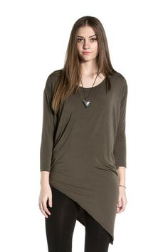 Hard Tail Slouchy Asymmetric Tunic in Olive Drab