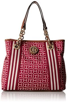Tommy Hilfiger Web Jacquard Shopper RedCream *** Click image to review more details.Note:It is affiliate link to Amazon.