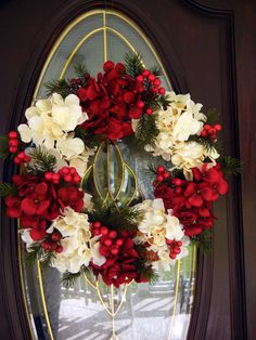 Christmas Wreath  Wreath For The Door  Hydrangea by forevermore1, $79.00