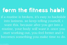 Form the fitness habit