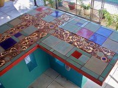 Mosaic ourdoor bar countertop.