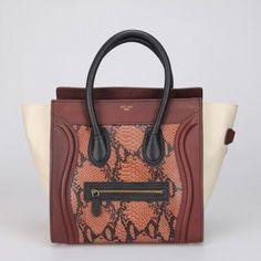 Celine Boston Smile Tote Handbag 88032 Dark Brown Snakeskin Handbags Replica