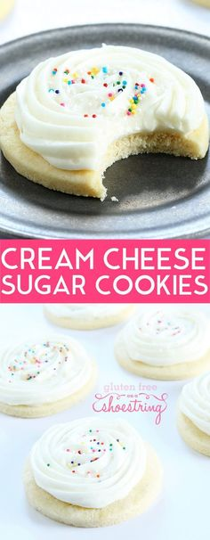 Get this tested recipe for soft and tender gluten free cream cheese cutout sugar cookies with a simple cream cheese frosting. The perfect cutout cookie! glutenfreeonashoe...