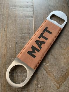 Tuxedo Design Bottle Opener made of Stainless Steel wrapped in Wood Leatherette or Cork 7 inches Long and 1.5 inches Wide Including Choices of Color and Engraved Text