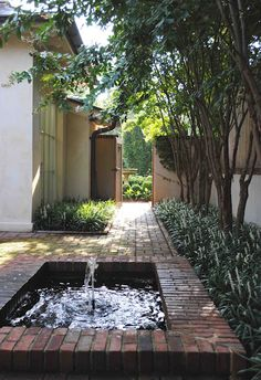 Courtyard brick fountain with crape myrtle trees and liriopes.