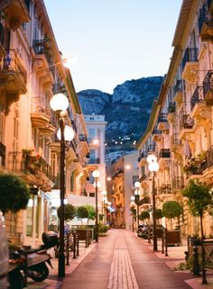 Streets of Monaco, France at Night
