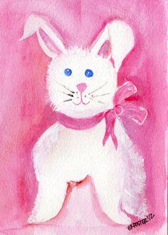 Pink Girl Bunny Rabbit Painting Original by SharonFosterArt, $18.00