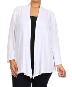 Another great find on #zulily! White Open Cardigan - Plus by Chris & Carol #zulilyfinds