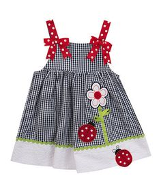 Navy Flower & Ladybug Appliqué A-Line Dress - Infant, Toddler & Girls