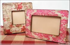 Modge Podged Picture Frames   (could make these for the girls to frame ultrasound or baby pictures)