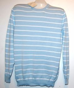 Corso Vannucci Blue White Stripes Cotton Shirt Sweater Italy Size US 46 EU 56  #CorsoVannucci #Crewneck