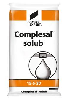 Complesal Solub 15-5-30 Σύνθεση: 15-5-30 +1+IXN Υδατοδιαλυτό ΝΡΚ με μαγνήσιο και ιχνοστοιχεία κατάλληλο για κάθε καλλιέργεια  για το στάδιο της καρποφορίας και ωρίμανσης των φρούτων και λαχανικών και για αποδόσεις υψηλής ποιότητας. Συσκευασία: σάκοι των 25 κιλών.