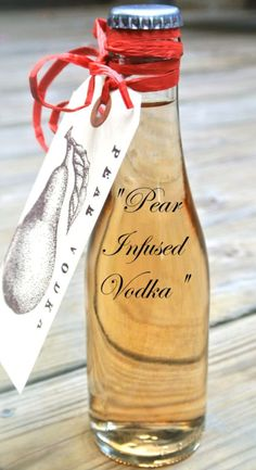"""Pear Infused Vodka"" Holiday Gift Idea / could be any infused liquor Cocktail Drinks, Fun Drinks, Party Drinks, Yummy Drinks, Mixed Drinks, Beverages, Liquor Drinks, Bourbon Drinks, Holiday Cocktails"