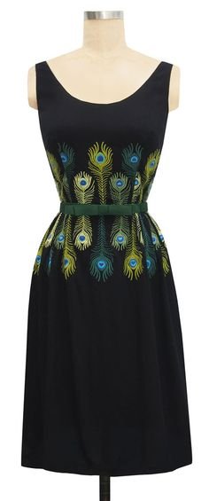 trashy diva katherine retro black dress peacock embroidery 1960s inspired sheath dress A-line silhouette peacock feather