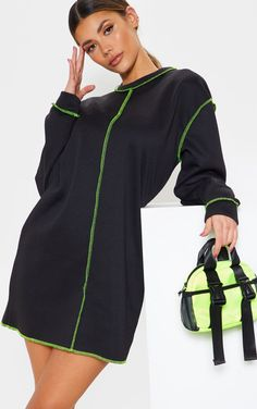 ddff2306f4f Black Neon Contrast Stitch Oversized Jumper Dress