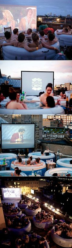 """Hot Tub Picture Show"" in East London. modern version of a ""drive-in-movie."" Hilarious and AWESOME. this is our next business venture! Rooftop Cinema London, Backyard Movie, Pool Movie, Movie Party, Backyard Patio, Inflatable Hot Tub Reviews, Co Working, East London, Adventure Is Out There"