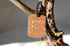 """Fehu rune necklace """"Blessing and prosperity"""" charm. Marquetry Oak & Mahogany wood by RunicJewellery on Etsy Marquetry, Runes, Blessing, Wax, Charms, Arts And Crafts, Pendants, Magic, Pure Products"""