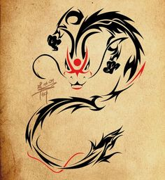 Kabuki dragon tattoo- awesome!