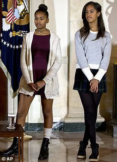 First Daughters Sasha and Malia Obama (right).  Wow, Sasha is as tall as her older sibling!