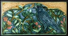 Craftsman Tile, Arts And Crafts Interiors, Art Nouveau Tiles, Pole Barn Homes, Tiles Texture, Arts And Crafts Movement, Ceramic Art, Crow, Art Projects