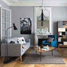 Ideas Apartment Living Room Grey Couch Pillows For 2019 Living Room White, White Rooms, Home And Living, Living Room Decor, Small Living, Living Spaces, Home Theather, Home Interior, Interior Design