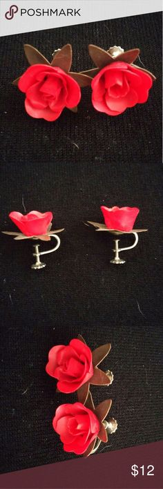 """Vintage Delicate Red Rose Earrings With Screwback Vintage red rose earrings with screw backs.  Marked """"Japan"""" on backscrews.  Very pretty and bright red in color. Jewelry Earrings"""
