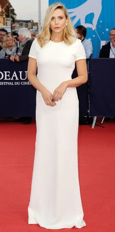Elizabeth Olsen at Ruth and Alex premiere at the Deauville American Film Festival in a gorgeous ivory silk crepe cap-sleeve Calvin Klein Collection column, complete with Joan Hornig earrings and a Dana Rebecca Designs cocktail ring.