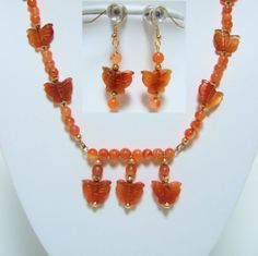Carnelian Hand Carved Butterfly Necklace and Beaded Butterfly Drop Earrings by JewelrybyIshi, $35.00