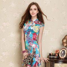 Fascinating Modern Silk Cheongsam Dress - Pattern B - Qipao - Cheongsam - Women
