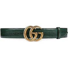 Gucci Ayers Belt With Double G Buckle ($750) ❤ liked on Polyvore featuring accessories, belts, gucci, green, gucci belt, logo belts, snake belt and green belt