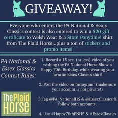 Enter the @pa_nationalhs & @essexclassics Contest & you will be entered to WIN a Stop! Ponytime! Shirt from @theplaidhorsemag and a $20 gift certificate to Welsh Wear! #contest #giveaway #happy70thpnhs  #essexclassics