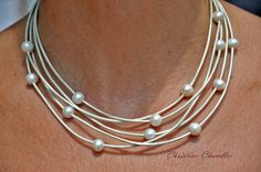 Leather Necklace Pearl and Leather Necklace by ChristineChandler