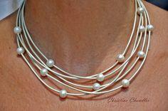 Perla - 5 filo metallico Shell Collana - perla e collana di gioielli in pelle e cuoio gioielli collezione