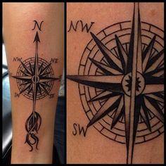 David Mushaney - Compass Forearm Tattoo