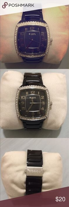 Fossil black watch with crystals Fossil black watch with crystals Fossil Jewelry Bracelets