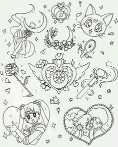 Sailor Moon Tattoos, Sailor Moons, Sailor Moon Art, Sailor Moon Symbols, 4 Tattoo, Doodle Tattoo, Samoan Tattoo, Tiger Tattoo, Polynesian Tattoos