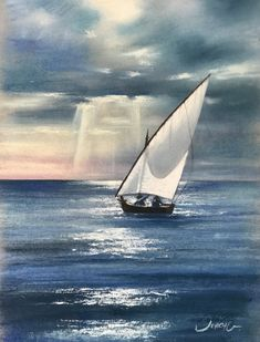 "From my new painting exhibition: ""Aguas del Cabo"". Soft pastel and water colour on Fabriano paper. By Jorge Gómez Sea Paintings, Cabo, Sailing Ships, Pastel, Boat, Watercolor, Colour, Landscape Paintings, Pen And Wash"